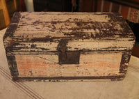 Antique Document Box Square Nails Oyster Paint with Lantern and Feather Gathering