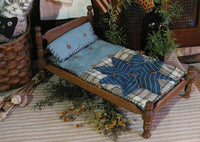 Primitive Doll Bed Steiff Cat Old Homespun Star Quilt Gathering Sweet