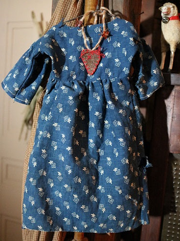 Doll Dress Early Blue Calico Sweet