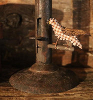 Early Hog Scraper Candlestick with Folksy Handmade Bird Accent Neat