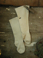 Antique Primitive Folding Frame Doll Dress Childs Wool Stockings Gathering