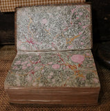 Early Books Velum and Calico Heart Fabric Pre Civil War Era Wow!