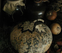 Primitive Canteen Gourd with Hand Stitched Fall Leaves Awesome