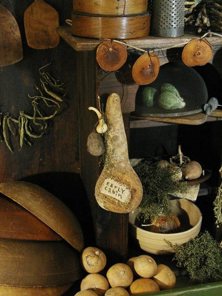 Early Primitive Cabin Hanging Gourd