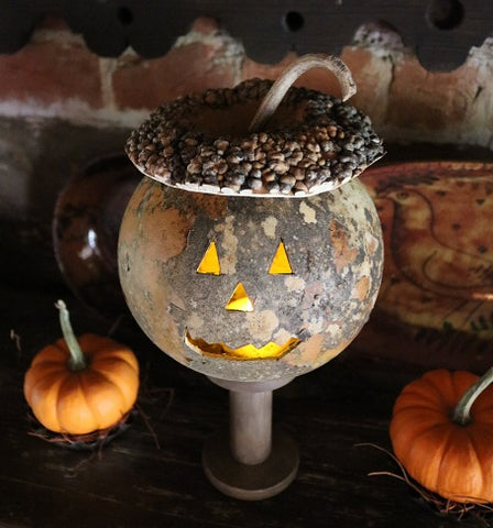 Gourd Pumpkin Jack O Lantern Bumpy Hat Hand Carved Lights Up with Stand Unique