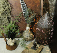 Primitive Gourd Vase with Turkey Feather and Drieds