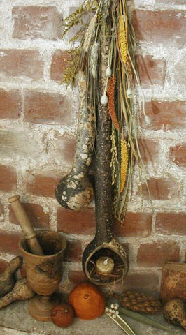 Primitive Gourd with Tea Light and Dried Autumn Prairie Flowers Fabulous