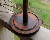 Wooden Hat Stand and Brown Calico Heart Bonnet Duet Beautiful