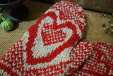 Wool Heart Mittens with Snowman Candle Winter Gathering