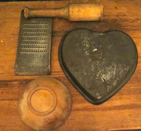 Primitive Kitchen Gathering Heart Cake Pan Grater Masher and Bowl