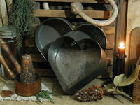 Antique Tin Heart Baking Pan Large Size Neat
