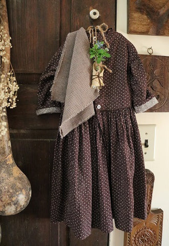 Late 19th Century Brown Calico Childs Dress with Homespun Shawl