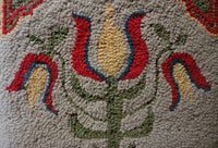 Hooked Rug and Tole Painted Coffee Pot Tulip Motif