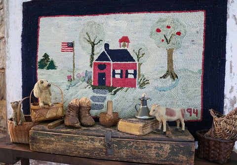 Hooked Rug Schoolhouse Signed & Dated Charming
