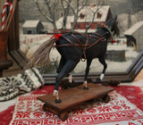 Prancing Horse Pull Toy Twig Cart Holiday Gathering Fabulous