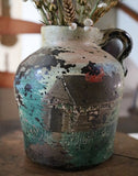 Old Stoneware Jug with Hand Painted Log Cabin Scene Neat