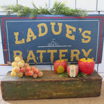Ladue's Battery Wooden Vintage Sign Great Paint