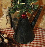 Antique Miners Railroad Oil Lamp Primitive Christmas Tree Lit Holiday Gathering