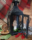19th Century Tin Lantern with Glass Panels Electrified