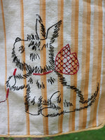 Vintage Laundry Bag with Embroidered Scottie Dogs Adorable