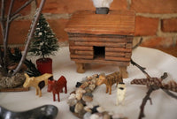 Gone Fishing Log Cabin Putz Animals Gathering