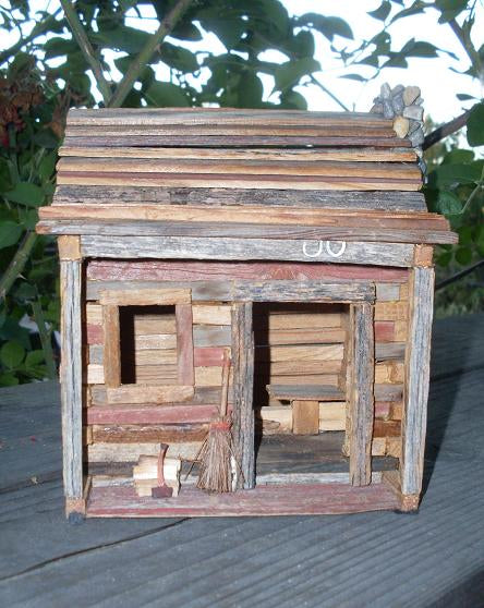 Primitive Log Cabin Artisan Made Perfect for Holiday Decorating