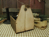 Primitive Wall Box with Old Lye Soap Wire Basket and Homespun Gathering