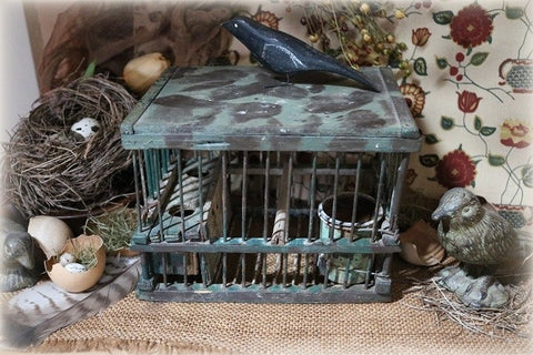 Folk Art Miners Bird Cage Less the Canary Neat