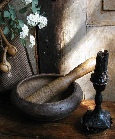 Mortar Bowl and Pestle Antique Unusual Form Neat