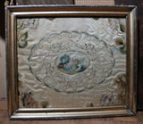 Mourning Needlework and Watercolor on Silk Lemon Gold Frame Exemplary