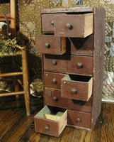 Old Primitive Tool Box Apothecary 12 Drawers in Spice Brown Paint Neat