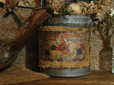 Primitive Rabbit Bunny in Old Farmhouse Maple Syrup Tin Bucket