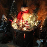 Christmas Orchard Basket Primitive Snowman Holiday Greens Gathering ~Lights Up~
