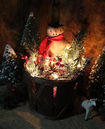 christmas orchard basket primitive snowman holiday greens gathering lights up