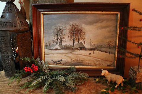 Landscape Winter Oil Painting with Unusual Well Sweep