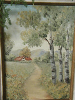 Old Country Landscape Oil OPaintings Kahns Department Store Signed L Stephens