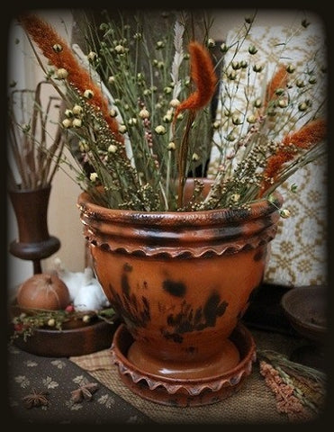 Pennsylvania Redware Flower Pot Mid-19th Century Gorgeous