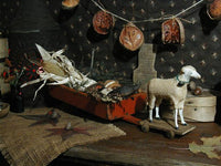 Putz Sheep with Primitive Toy Cart in Bittersweet Paint Autumn