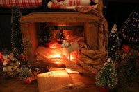 Old Small Crate with Putz Sheep and Vintage Bottle Brush Trees Lit