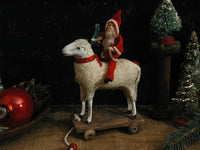 Putz sheep Large Size with Santa Pull Toy Sweet