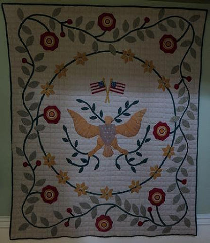 Quilt Eagle and Flower Design Vibrant Colors