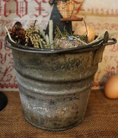 Primitive Rabbit Tin Farm Pail Spring Gathering