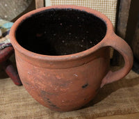 Early Hearth Cooking Pennsylvania Redware Pot and Maple Stir Stick Fabulous
