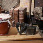 Early Redware Apple Butter Jar Breadboard and Cookie Cutters Gathering