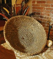 Antique Pennsylvania Rye Straw Basket Large Size with Sunflowers