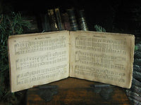 Antique 1886 Sabboth Songs Book Child's Long Stockings Striped Christmas Gathering