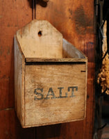 19th Century Hanging Salt Box in Buttermilk Paint