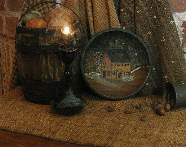 Saltbox Hand Painted Bowl Primitive Autumn Fall Theme