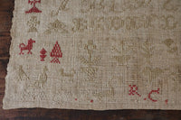 19th Century Italian Catholic Sampler with Hearts