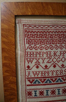 Dutch Marking Sampler Dated 1914 Red White Blue Charming